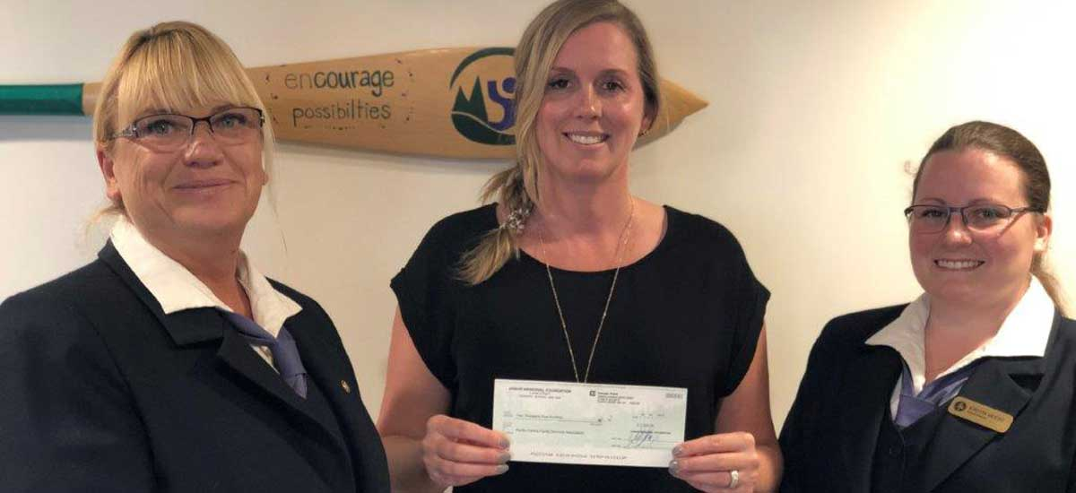 Cheque presentation from Sands Funeral Chapel - Colwood (by Arbor Memorial) - Julie Evans (Manager)